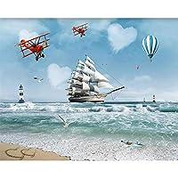 Hanhantang 3D壁画Hdオーシャンヨット熱気球Tv背景装飾3D壁紙-120X100Cm