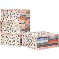 アストロ 衣類収納ケース 4個組 不織布製 花柄 通気性に優れた生地で、洋服やタオル収納に最適!  183-21