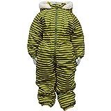 ボーイズキッズスキーウェア[Blue Mart(ブルーマート)]男の子|男児|子供用ボーダー柄ジャンプスーツ|スノーコンビ雪遊び 120cm カーキ