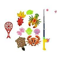 B Blesiya 全4サイズ選択 赤ちゃん 磁気釣りおもちゃ プレイセット 魚動物モデル 釣竿 ふり遊びおもちゃ - 10個