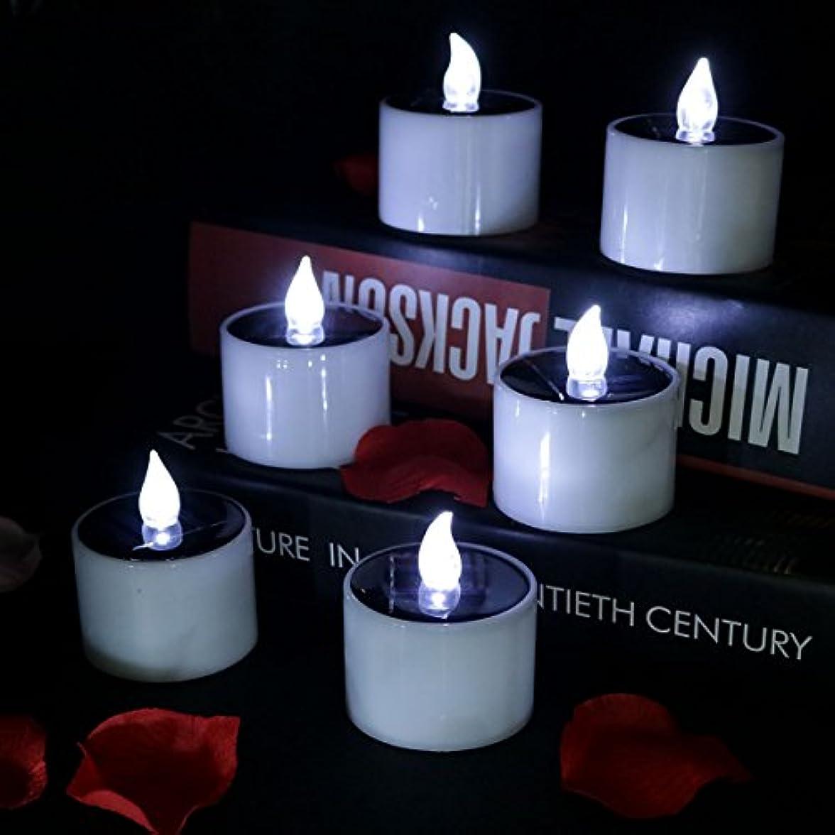 非行ドナーベーコンhoreset 6個イエローソーラー電源ちらつき電子常夜灯LED Flameless Candle、電池式Tealights、2 x 2.3インチsmoke-freeの結婚式、誕生日、パーティー、アウトドアハイキングキャンプ Solar 2011W_6_Black_xld