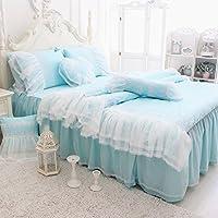 Abreezeキュートガールズコットン寝具セットロマンチックホワイトフリル付き羽毛布団カバーセット4点 フル ブルー