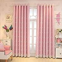 カーテン窓カーテンガーゼベッドルームシェーディング布プリーツブラインドブラックアウトカーテン、シェードリビングルームバルコニー装飾窓 (色 : Pink, サイズ さいず : 1*W1.0*H2.7M)