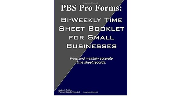 amazon pbs pro forms bi weekly time sheet booklet for small