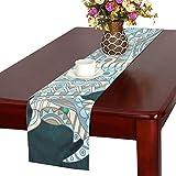 GGSXD テーブルランナー かわいい サイ クロス 食卓カバー 麻綿製 欧米 おしゃれ 16 Inch X 72 Inch (40cm X 182cm) キッチン ダイニング ホーム デコレーション モダン リビング 洗える