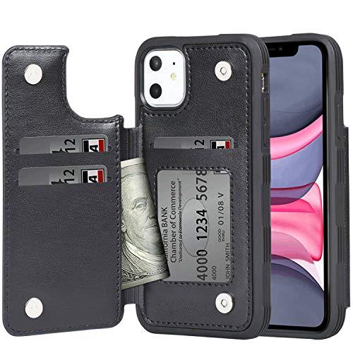 iPhone 11 ケース 手帳型 ワイヤレス充電対応 米軍軍事規格 スマホケース iPhone 11 カバー Arae カード収納 ポケット付き アイフォン 11 6.1インチ 対応用 財布型 ケース (ブラック)