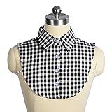 つけ襟 Wearlizer シャツ ギンガムチェック 角襟 衿 ブラウス ブラック ヘアーゴムー付