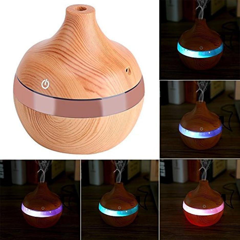 水軽食かび臭いアロマディフューザー - Delaman 卓上加湿器、木目調、7色変換