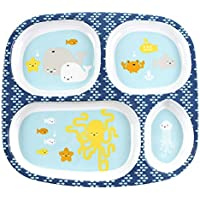 Bumkins Melamine Divided Plate, Sea Friends by Bumkins