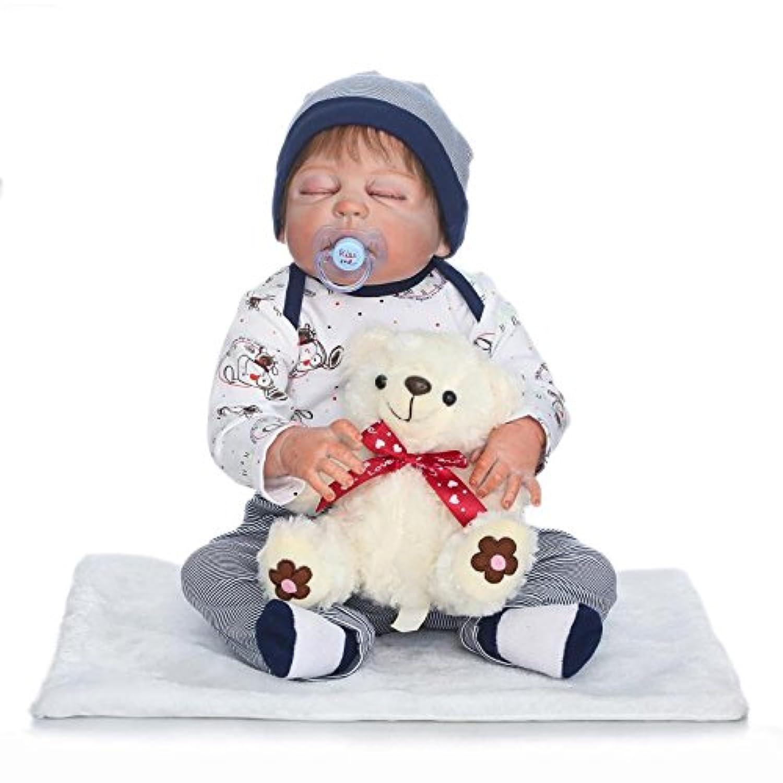 Nkol Reborn Dollsシリコンフルボディ防水Lifelike Realistic Rebornベビー人形、22インチ56 cm Weighted解剖学的に正しいBoyおもちゃ