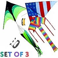 デルタ凧Variety 3 - Pack、米国旗、レインボー、andグリーン&ブラックKite ( 3-kiteギフトセット)