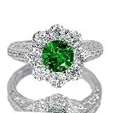 ロシア産デマントイドガーネット1.3ct ダイヤモンド1.5ct プラチナ リング(指輪)