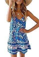 大規模なドレス、夏Vネックプリントスリングビーチスカート、ブルー、