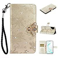 WVYMX Galaxy Note 10 Pro Wallet Case, Galaxy Note 10 Pro Premium PU Leather Case, 3D Bling Painted Design Full-Body Protective Cover Folio Flip Case for Samsung Galaxy Note 10 Pro With Lanyard Gold