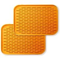BOBILIFE-耐熱性にすぐれたシリコン鍋敷き - 鍋敷きとしてはもちろん、鍋つかみや、びんの蓋開けとしても(2枚セット) (オレンジ)