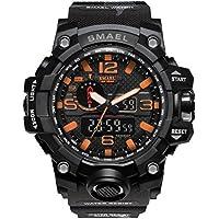SMAEL men's sports watch outdoor waterproof watch double electronic quartz movement backlit army (black)