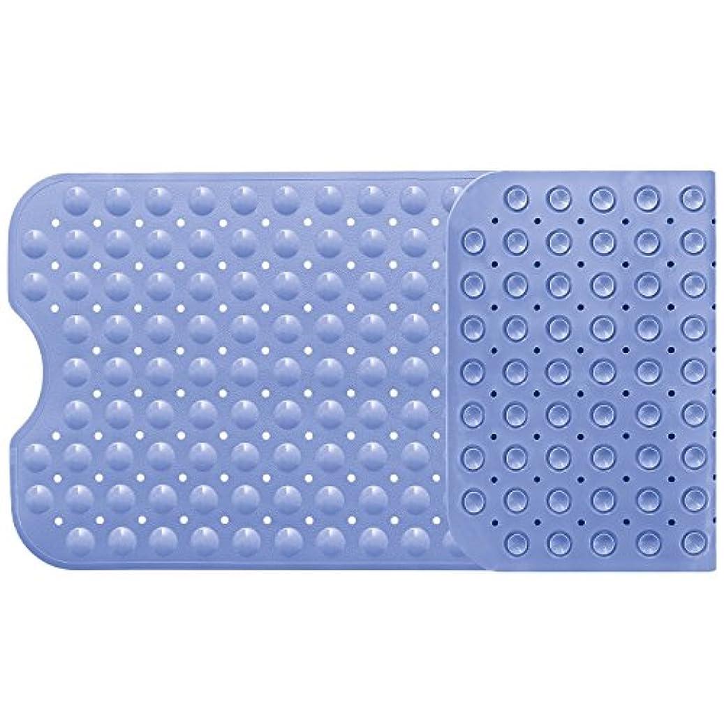 うまくやる()まぶしさみなさんバスマット お風呂マット 滑り止めマット 転倒防止 介護用 浴槽用 吸盤付き 防カビ すべり止めマット フットマッサージ 風呂シャワーマット 安全 100×40cm ライトブルー