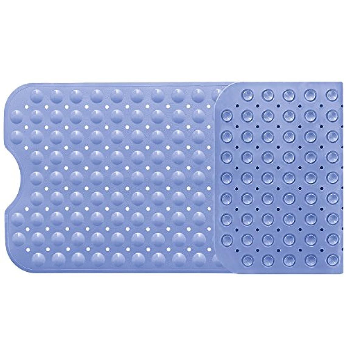 退院レンズソフトウェアバスマット お風呂マット 滑り止めマット 転倒防止 介護用 浴槽用 吸盤付き 防カビ すべり止めマット フットマッサージ 風呂シャワーマット 安全 100×40cm ライトブルー