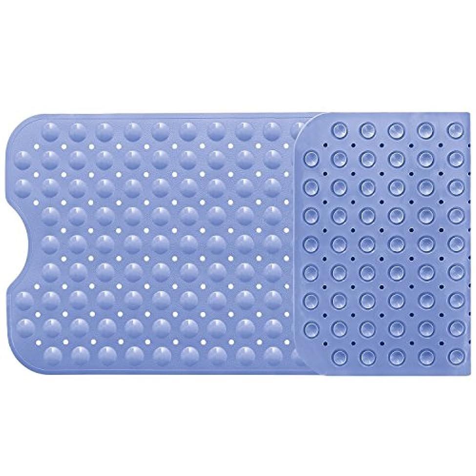 カロリーどきどきブロックバスマット お風呂マット 滑り止めマット 転倒防止 介護用 浴槽用 吸盤付き 防カビ すべり止めマット フットマッサージ 風呂シャワーマット 安全 100×40cm ライトブルー