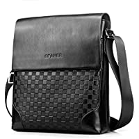 SPAHER Elegant Men Leather Shoulder Bag Ipad Messenger Business Bag Crossbody Tote Satchel Sling Travel Bag Handbag Kindle Tablet Case for Flight Trip Work with Adjustable Shoulder Strap