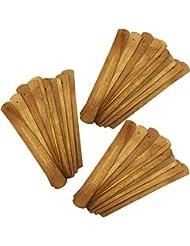 (30) - 30pcs Handmade Plain Wood Wooden Incense Stick Holder Burner Ash Catcher Natural Design Buddhist (30)