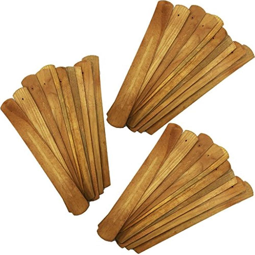 部分的にクリケットタイマー(30) - 30pcs Handmade Plain Wood Wooden Incense Stick Holder Burner Ash Catcher Natural Design Buddhist (30)