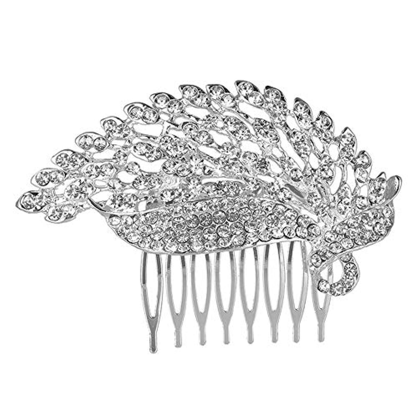 ガラスふりをする気怠い髪の櫛の櫛の櫛の花嫁の櫛の櫛の櫛の花嫁の頭飾りの結婚式のアクセサリー合金
