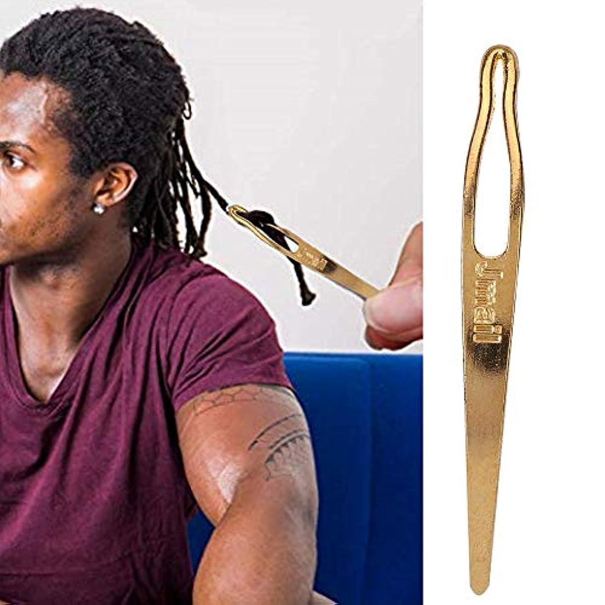 叫ぶほとんどの場合作成する2個ドレッドヘアヘアエクステンションかぎ針編みフックツール(ゴールド)