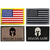 Military Tactical Patch, Antrix 6 Pack American USA Flag Punisher Molon Labe Symbol Embroidered Tactical Morale Tags Military