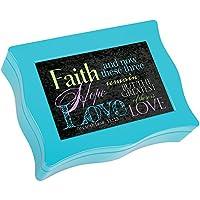 Cottage Garden Faith Hope Love Aqua Digital Music Box / Jewellery Box Plays Above All