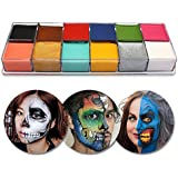 TEEPAO Face Body Paint, 12 Colors Face Body Oil Painting Halloween Christmas Party Fancy Dress Tattoo Oil Painting for Kids Adults Makeup Kit Art Beauty