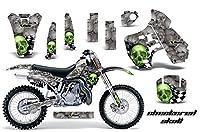 Kawasaki kx5001988–2004MXダートバイクグラフィックキットステッカーデカールKX 500with Number Plates Checkeredスカルグリーン