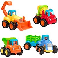 Vamslove 摩擦式自動車 4ピース 子供向け玩具 車セット プッシュ&ゴー カートゥーン構造 車両玩具 早期教育 エンジニアリングギフト おもちゃ 子供 男の子 女の子 幼児 赤ちゃん 1 2 3歳