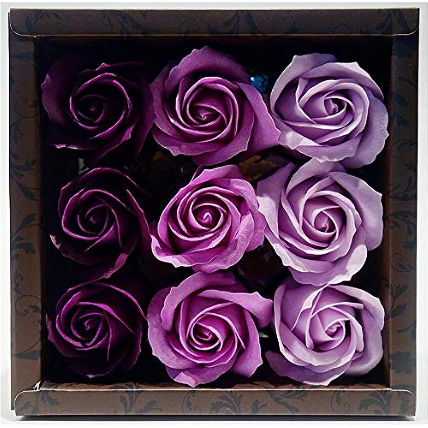 ミュートスローガン現実的花のカタチの入浴料 ローズ バスフレグランス フラワーフレグランス バスフラワー (パープル)