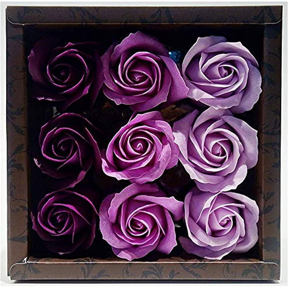 放送テナント不十分な花のカタチの入浴料 ローズ バスフレグランス フラワーフレグランス バスフラワー (パープル)
