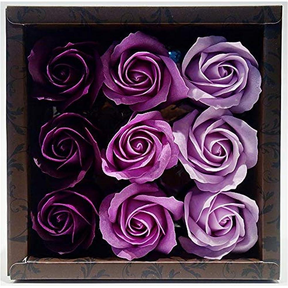切手年週間花のカタチの入浴料 ローズ バスフレグランス フラワーフレグランス バスフラワー (パープル)