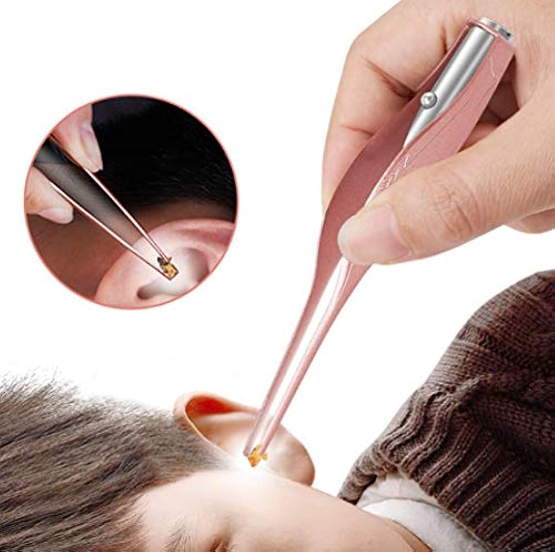 縞模様のブラウズスタジオ耳かき ピンセット LEDライト付き 耳掃除 子供用 極細先端 ステンレス製 ピンセットタイプ ミミ光棒 はっきり見える 電池付き (ローズゴールド)