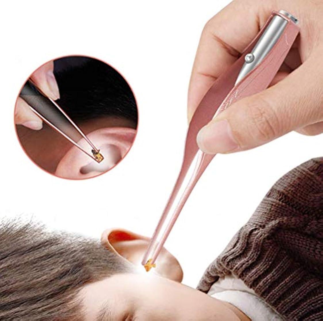 のり令状控えめな耳かき ピンセット LEDライト付き 耳掃除 子供用 極細先端 ステンレス製 ピンセットタイプ ミミ光棒 はっきり見える 電池付き (ローズゴールド)