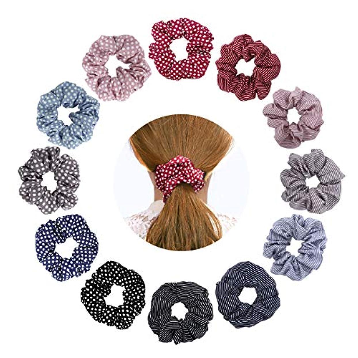 コード六月評価可能ヘアゴム - シュシュ ヘアアクセサリー スカーフ リングゴム ヘアアクセ ヘアリング 髪飾り 髪留め ボリューム シュシュ 上品 花柄 おしゃれ 大人っぽい 女性 通勤 プレゼント レディース