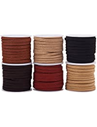 PandaHall Elite 6 Rolls Lace Faux Leather Suede Beading Cords Velvet String 4mm 5.5 Yard per Roll Mixed Color