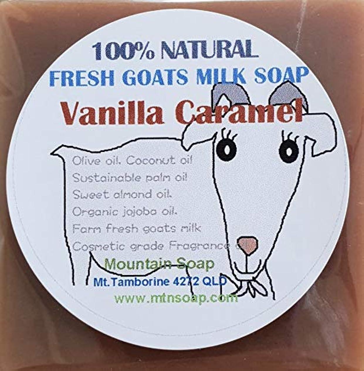 作成する寺院砲撃【Mountain Soap】農場直送絞りたてゴートミルク生乳使用 ゴートミルク石鹸 バニラキャラメル