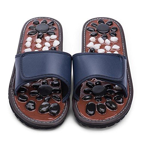 BYRIVER大人気健康足つぼマッサージスリッパ 天然石マットサンダル靴男女兼用 (blue 27)