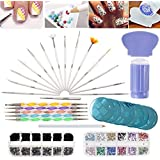 VAGA Manicure Set Nail Art Supplies Nail Kit 2 Boxes of 1500 Gemstones, Crystals, Gems, Stampers Scrapers, Stamping Plates, D