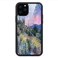 iPhone 11 Pro Max 用 強化ガラスケース クリア 薄型 耐衝撃 黒 カバーケース サボテン 山の花の風景 iPhone 11 Pro 2019用 iPhone11 Proケース用