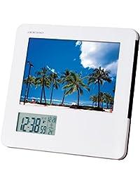 ADESSO(アデッソ) 目覚まし時計 フォトフレーム 電波時計 温度 日付表示 ホワイト 8785
