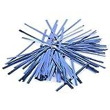 SODIAL(R)100pcs青いのメタリックプラスチックツイストネクタイ、ロリポップキャンディーバッグベーカリー用