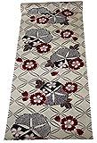 浴衣反物 紅梅生地 綿100% 教材用 女性用 赤朝顔・七宝柄 オフ・白色 日本製