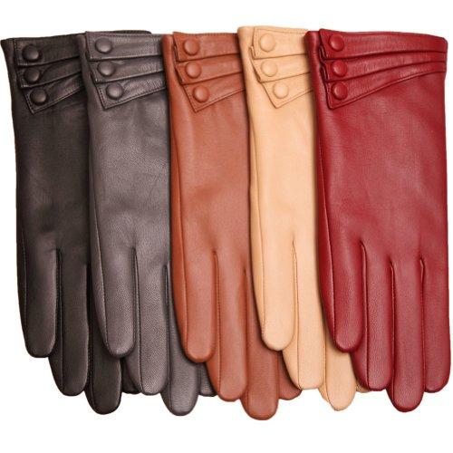 【WARMEN】レディース レザー 本革 羊革 ナッパ革 手袋 グローブ 手ぶくろ 冬 保温 暖かい 厚ライニング L003NC (S, ダークグレイ)