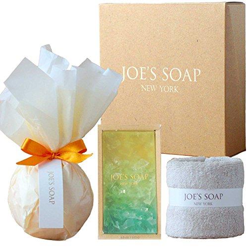 JOE'S SOAP ジョーズソープ ギフトセット バスボム(ORANGE) グラスソープ(LEMON TEA) タオル 石鹸 せっけん 石けん 洗顔料 洗顔 ボディソープ 入浴剤 バスフィズ ギフト プレゼント ボックス セット 詰め合わせ 今治 保湿 オーガニック