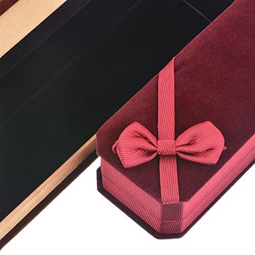 MJartoria ネックレス チェーン  ブレスレット ギフト ボックス 長方形  ちょう結び  ジュエリーケース バレンタインデーギフトボックス (3個セット)